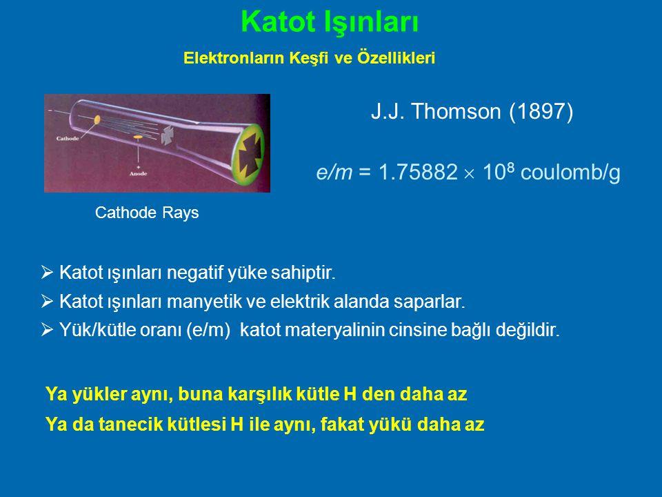 Katot Işınları J.J. Thomson (1897) e/m = 1.75882  108 coulomb/g