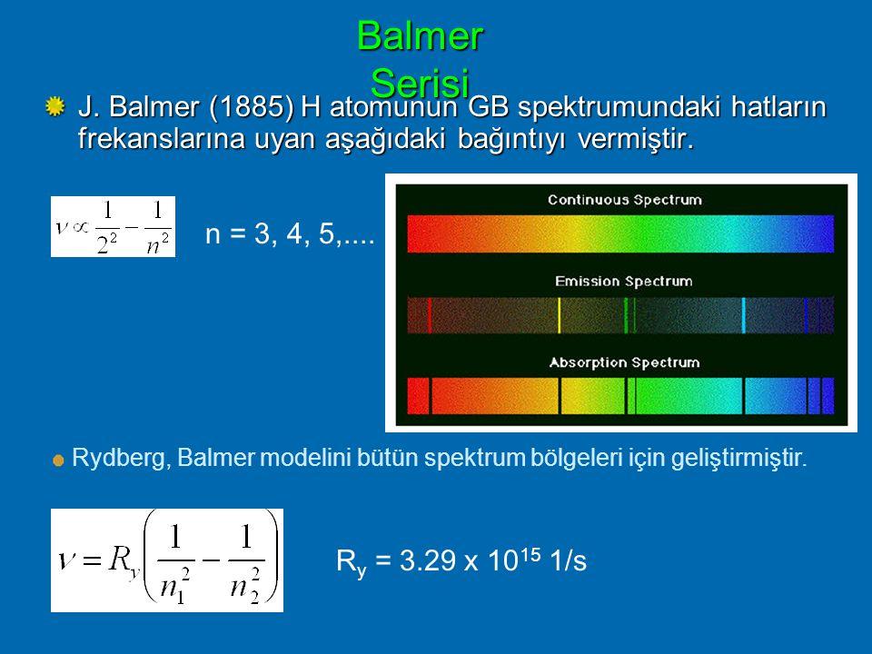Balmer Serisi J. Balmer (1885) H atomunun GB spektrumundaki hatların frekanslarına uyan aşağıdaki bağıntıyı vermiştir.