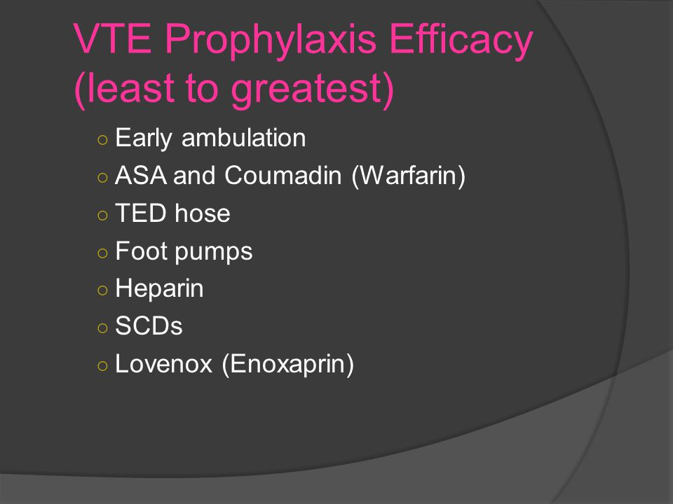 VTE Prophylaxis Efficacy (least to greatest)