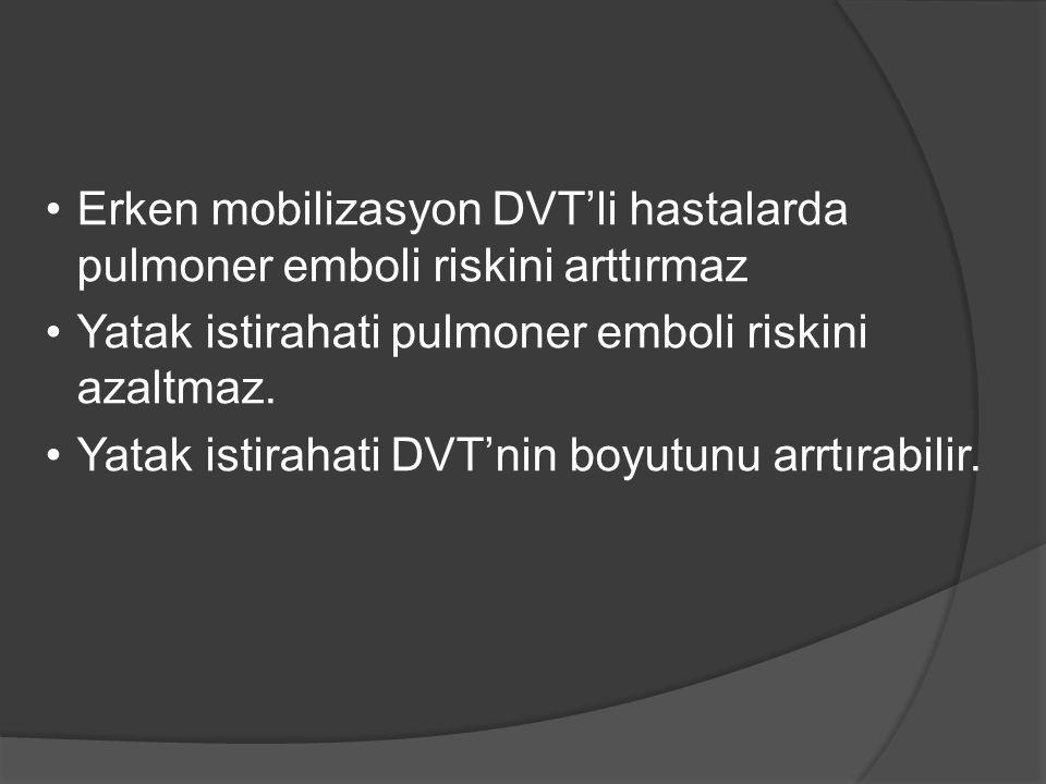 Erken mobilizasyon DVT'li hastalarda pulmoner emboli riskini arttırmaz