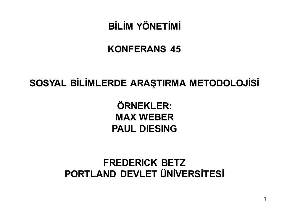 SOSYAL BİLİMLERDE ARAŞTIRMA METODOLOJİSİ PORTLAND DEVLET ÜNİVERSİTESİ