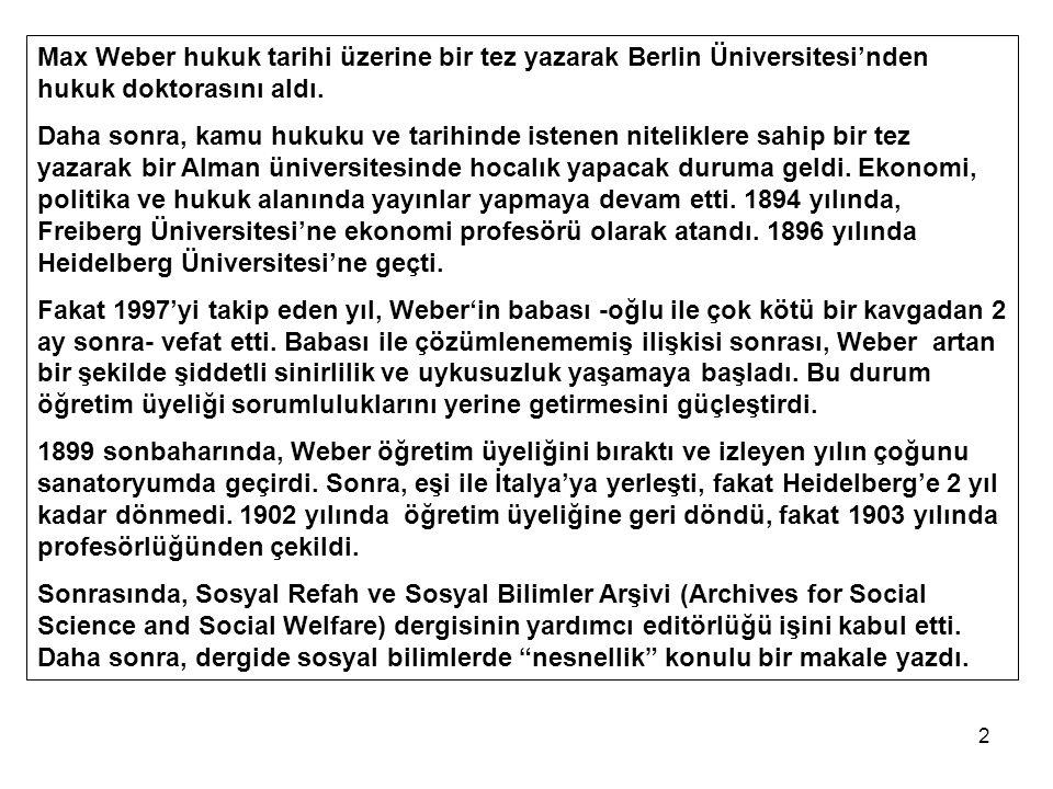 Max Weber hukuk tarihi üzerine bir tez yazarak Berlin Üniversitesi'nden hukuk doktorasını aldı.