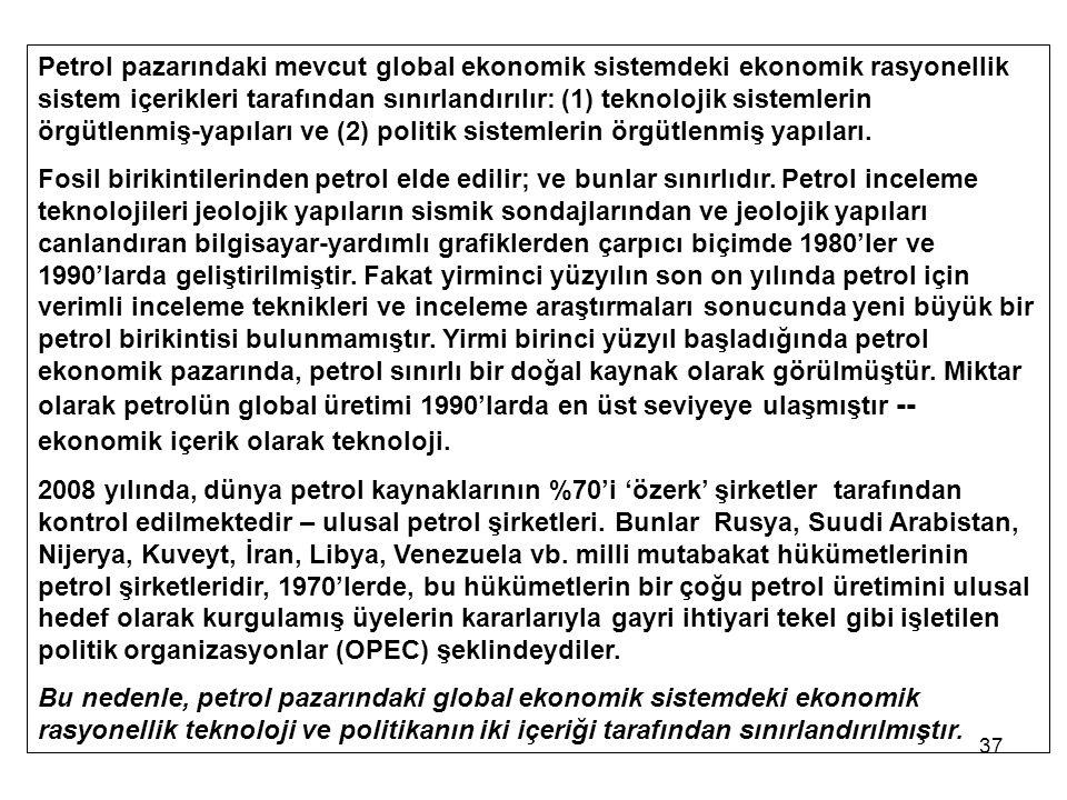Petrol pazarındaki mevcut global ekonomik sistemdeki ekonomik rasyonellik sistem içerikleri tarafından sınırlandırılır: (1) teknolojik sistemlerin örgütlenmiş-yapıları ve (2) politik sistemlerin örgütlenmiş yapıları.