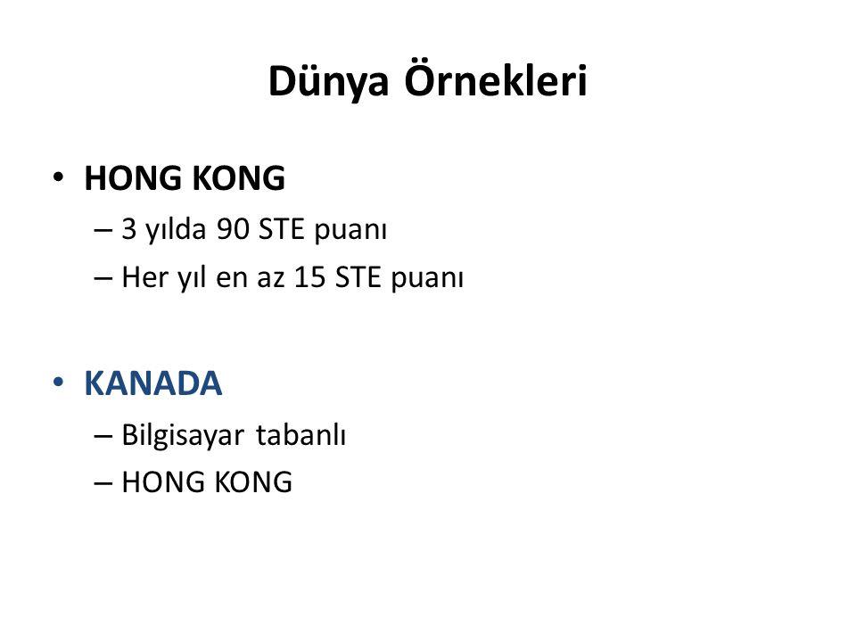 Dünya Örnekleri HONG KONG KANADA 3 yılda 90 STE puanı