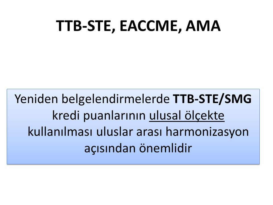 TTB-STE, EACCME, AMA