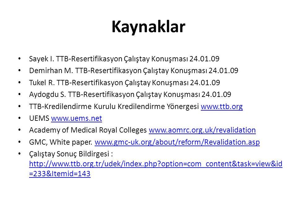 Kaynaklar Sayek I. TTB-Resertifikasyon Çalıştay Konuşması 24.01.09
