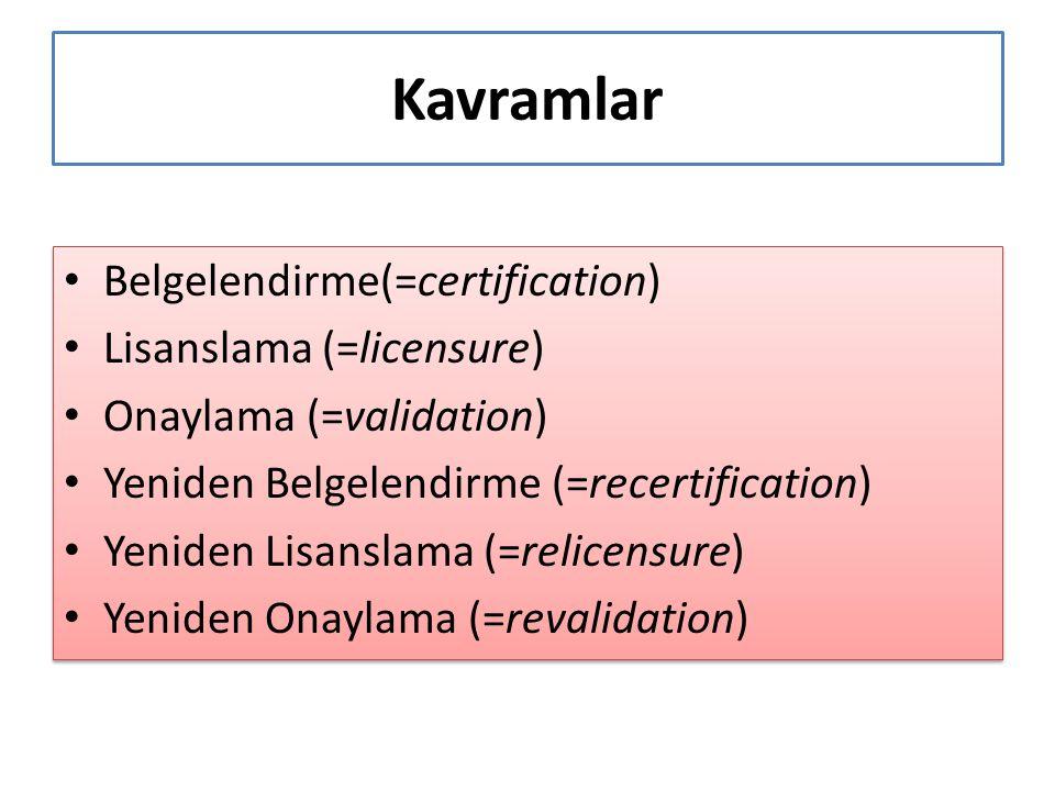 Kavramlar Belgelendirme(=certification) Lisanslama (=licensure)
