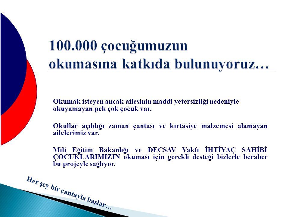 100.000 çocuğumuzun okumasına katkıda bulunuyoruz…