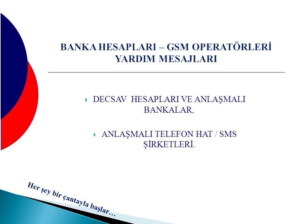 BANKA HESAPLARI – GSM OPERATÖRLERİ YARDIM MESAJLARI