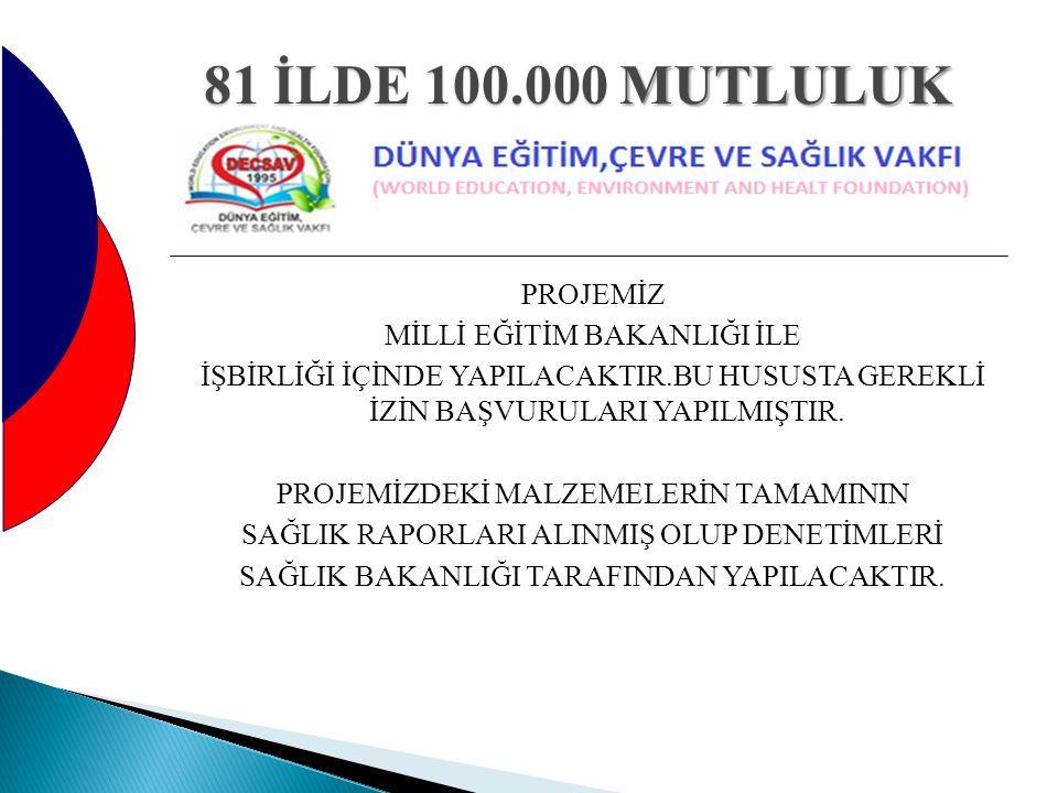 81 İLDE 100.000 MUTLULUK PROJEMİZ MİLLİ EĞİTİM BAKANLIĞI İLE