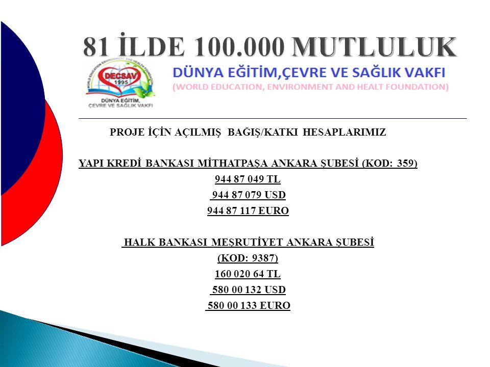 81 İLDE 100.000 MUTLULUK
