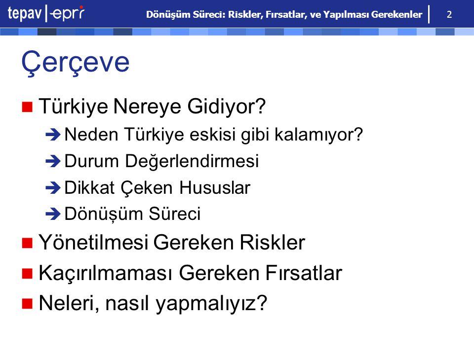 Çerçeve Türkiye Nereye Gidiyor Yönetilmesi Gereken Riskler
