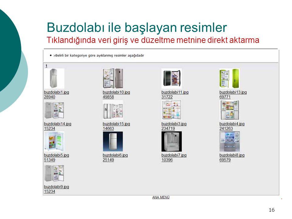 Buzdolabı ile başlayan resimler Tıklandığında veri giriş ve düzeltme metnine direkt aktarma