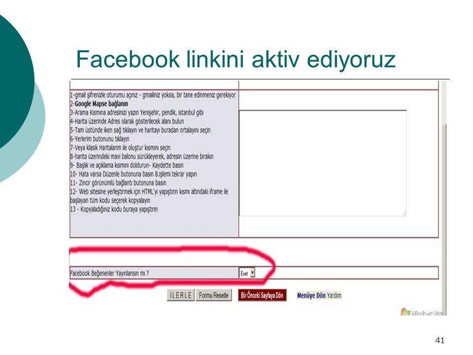Facebook linkini aktiv ediyoruz