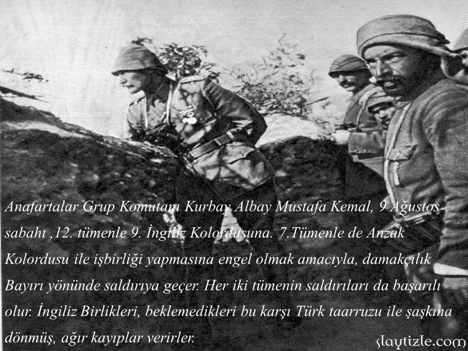 Anafartalar Grup Komutanı Kurbay Albay Mustafa Kemal, 9 Ağustos sabahı ,12.