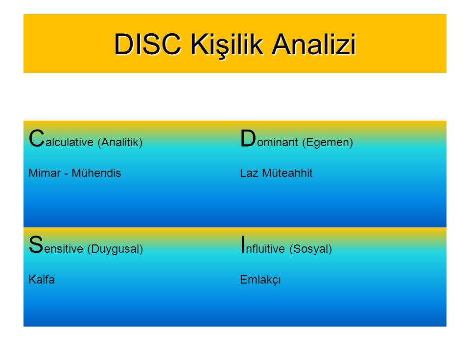 DISC Kişilik Analizi Calculative (Analitik) Dominant (Egemen)
