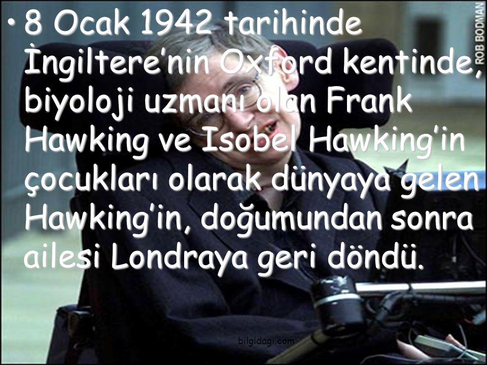 8 Ocak 1942 tarihinde İngiltere'nin Oxford kentinde, biyoloji uzmanı olan Frank Hawking ve Isobel Hawking'in çocukları olarak dünyaya gelen Hawking'in, doğumundan sonra ailesi Londraya geri döndü.