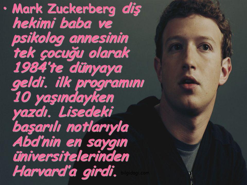 Mark Zuckerberg diş hekimi baba ve psikolog annesinin tek çocuğu olarak 1984'te dünyaya geldi. ilk programını 10 yaşındayken yazdı. Lisedeki başarılı notlarıyla Abd'nin en saygın üniversitelerinden Harvard'a girdi.