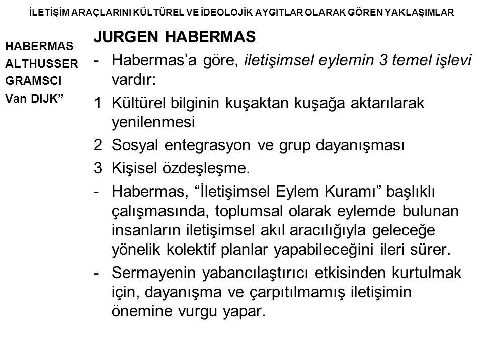 - Habermas'a göre, iletişimsel eylemin 3 temel işlevi vardır:
