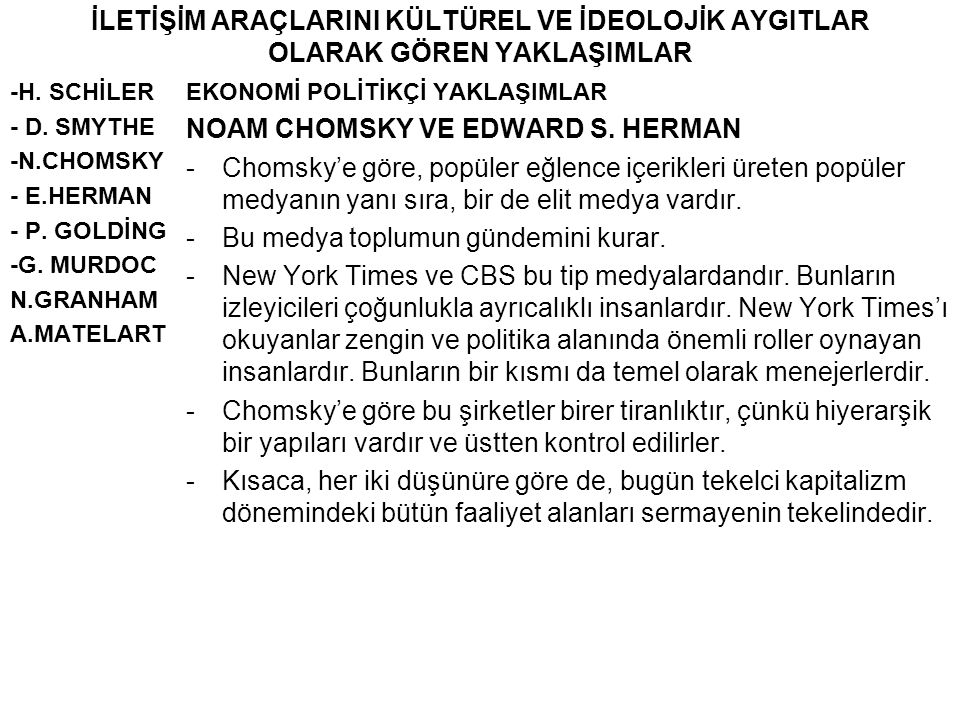 NOAM CHOMSKY VE EDWARD S. HERMAN