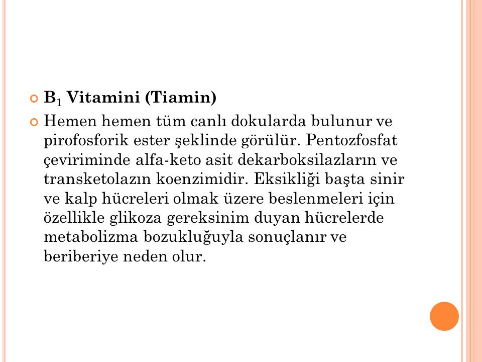 B1 Vitamini (Tiamin)