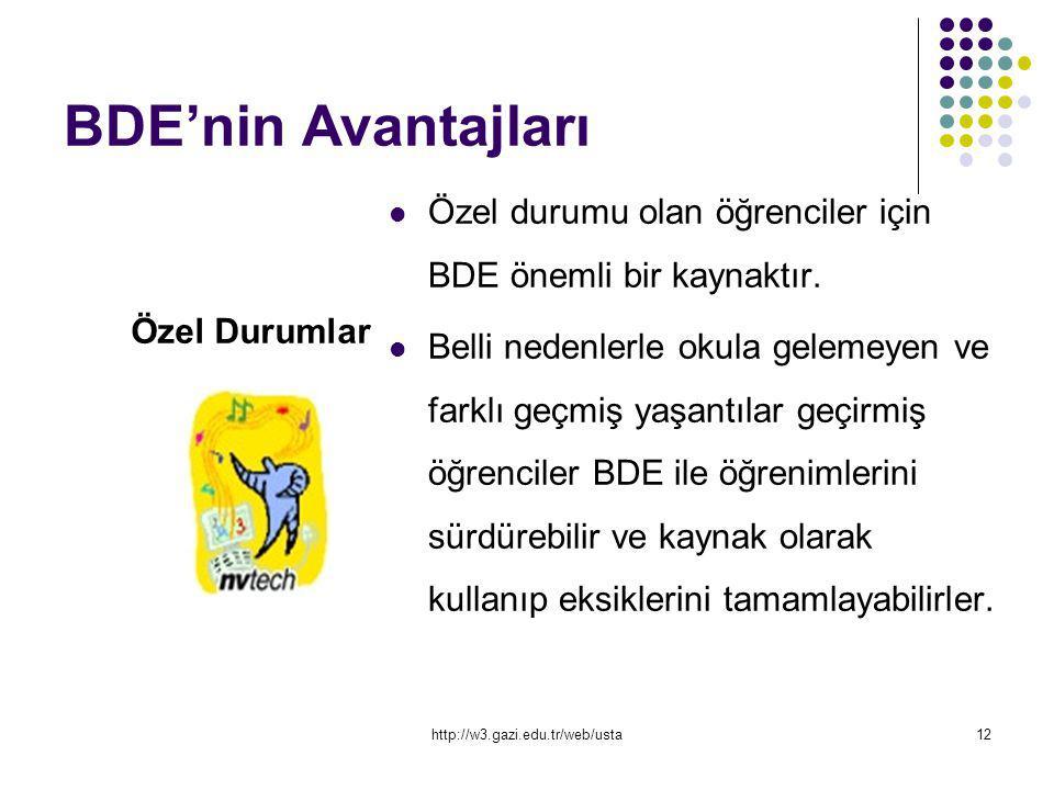 BDE'nin Avantajları Özel durumu olan öğrenciler için BDE önemli bir kaynaktır.