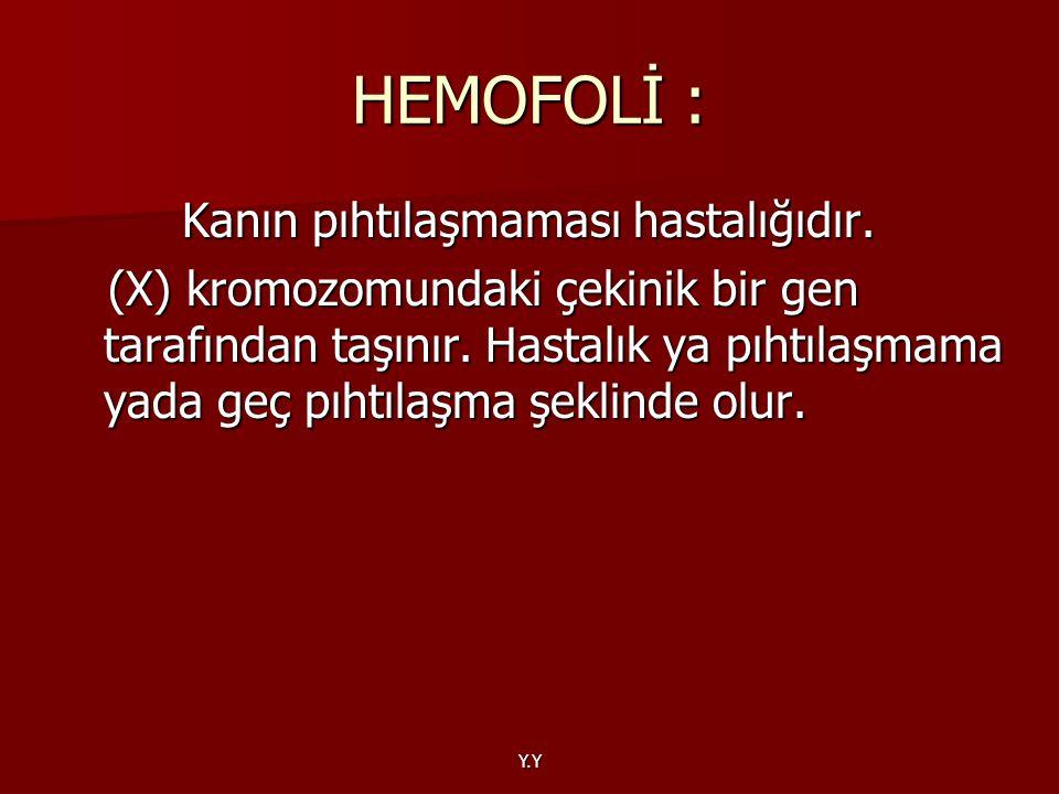HEMOFOLİ : Kanın pıhtılaşmaması hastalığıdır.