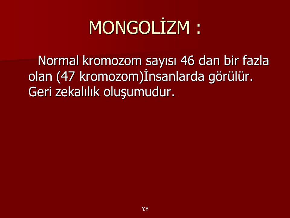 MONGOLİZM : Normal kromozom sayısı 46 dan bir fazla olan (47 kromozom)İnsanlarda görülür. Geri zekalılık oluşumudur.