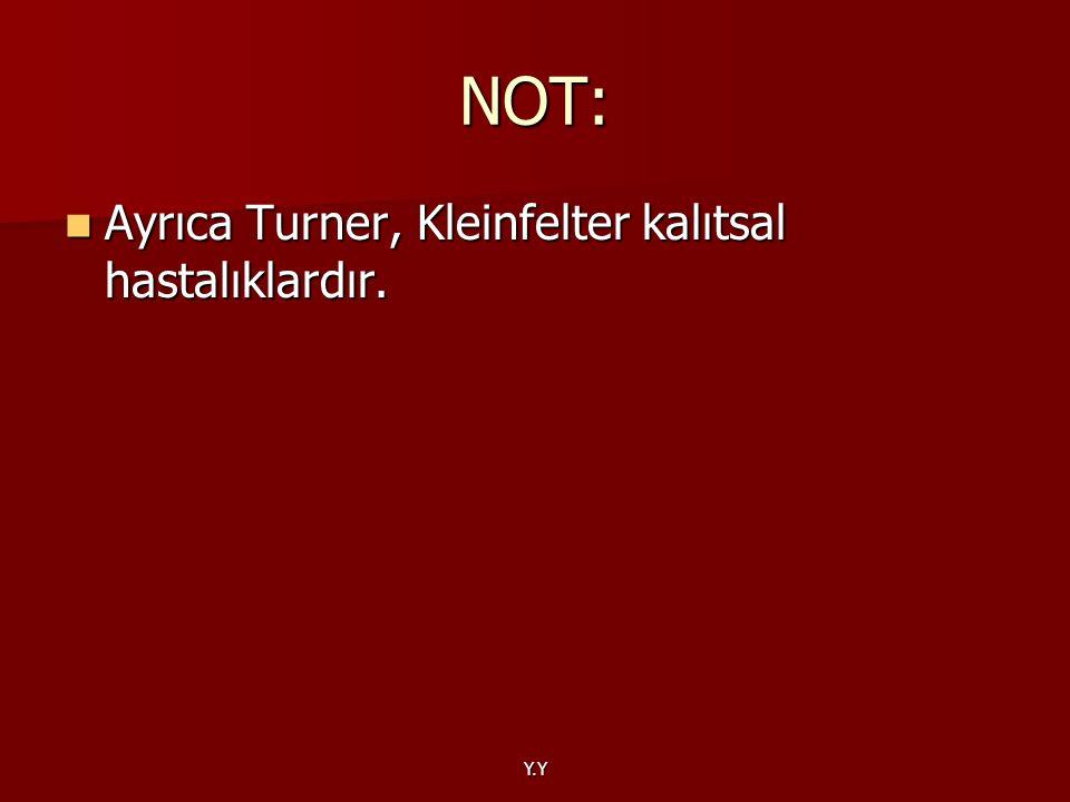 NOT: Ayrıca Turner, Kleinfelter kalıtsal hastalıklardır. Y.Y