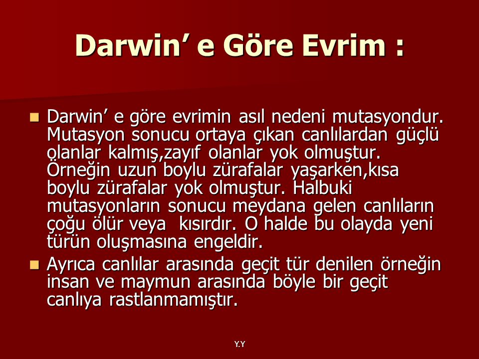 Darwin' e Göre Evrim :