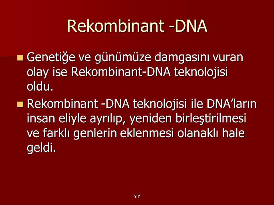 Rekombinant -DNA Genetiğe ve günümüze damgasını vuran olay ise Rekombinant-DNA teknolojisi oldu.