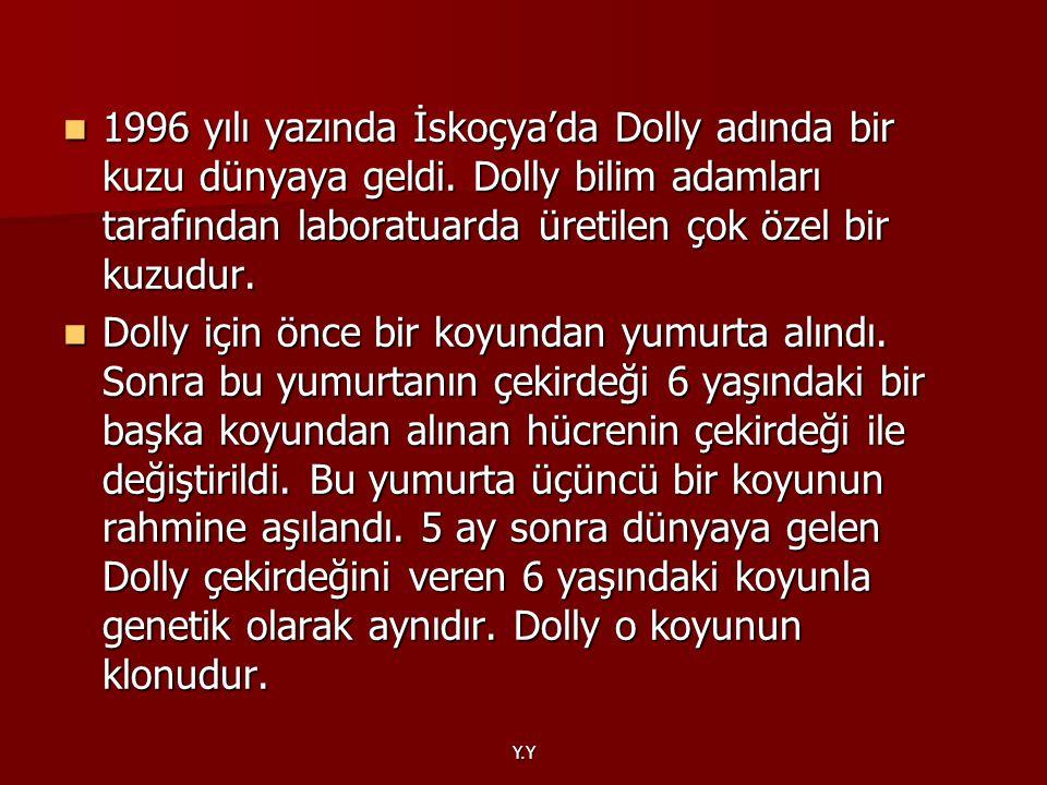 1996 yılı yazında İskoçya'da Dolly adında bir kuzu dünyaya geldi