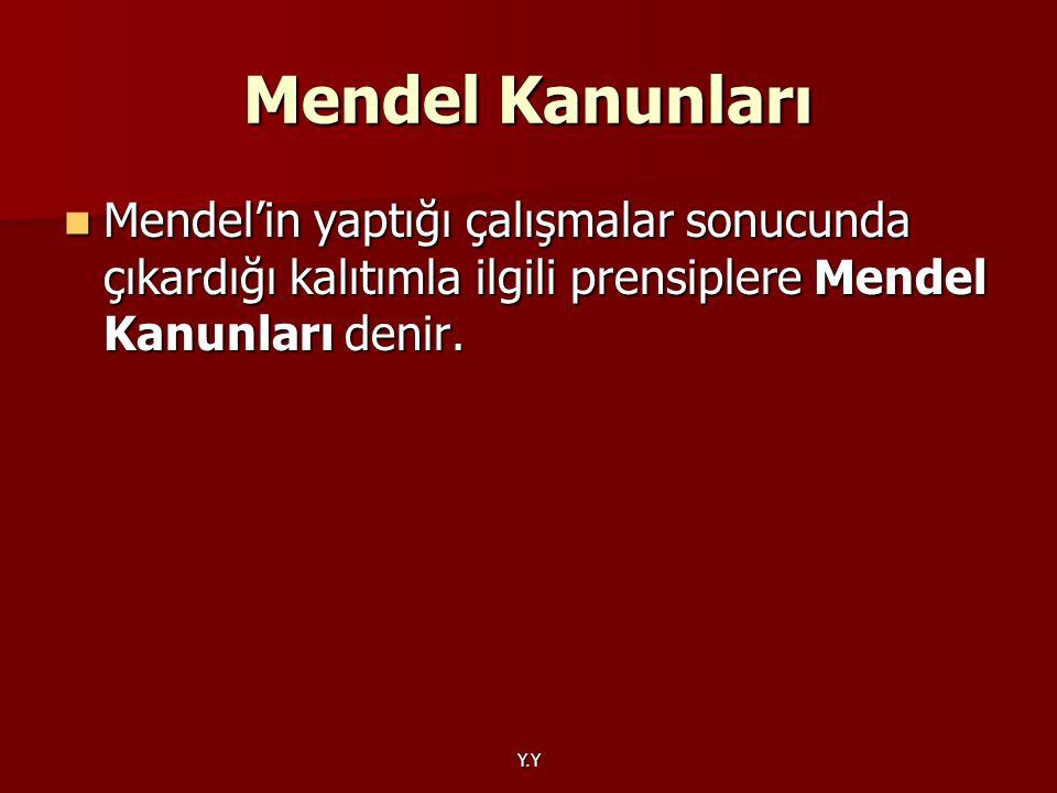 Mendel Kanunları Mendel'in yaptığı çalışmalar sonucunda çıkardığı kalıtımla ilgili prensiplere Mendel Kanunları denir.