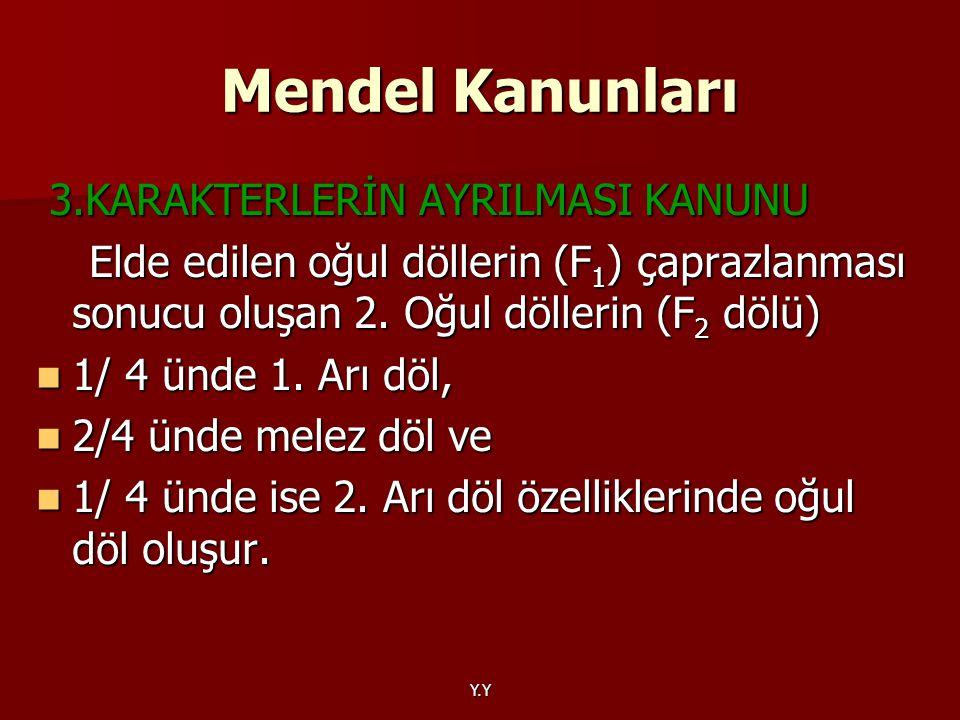 Mendel Kanunları 3.KARAKTERLERİN AYRILMASI KANUNU