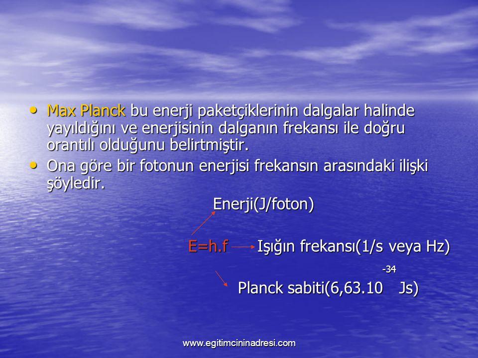 Ona göre bir fotonun enerjisi frekansın arasındaki ilişki şöyledir.