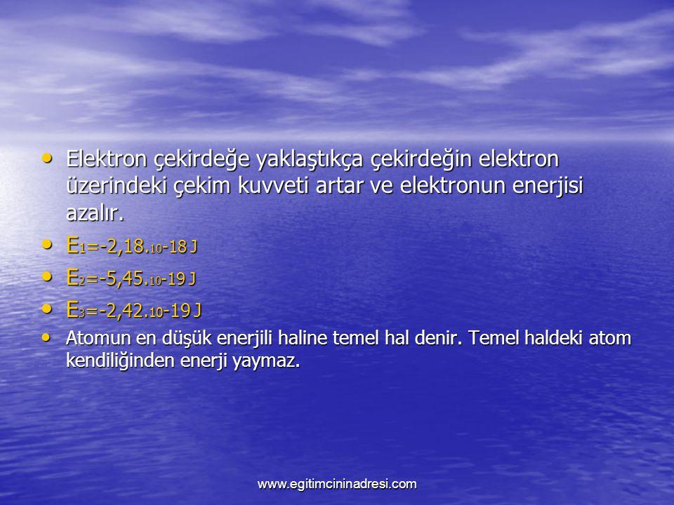 Elektron çekirdeğe yaklaştıkça çekirdeğin elektron üzerindeki çekim kuvveti artar ve elektronun enerjisi azalır.