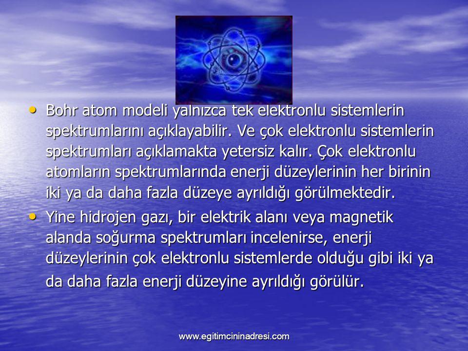 Bohr atom modeli yalnızca tek elektronlu sistemlerin spektrumlarını açıklayabilir. Ve çok elektronlu sistemlerin spektrumları açıklamakta yetersiz kalır. Çok elektronlu atomların spektrumlarında enerji düzeylerinin her birinin iki ya da daha fazla düzeye ayrıldığı görülmektedir.