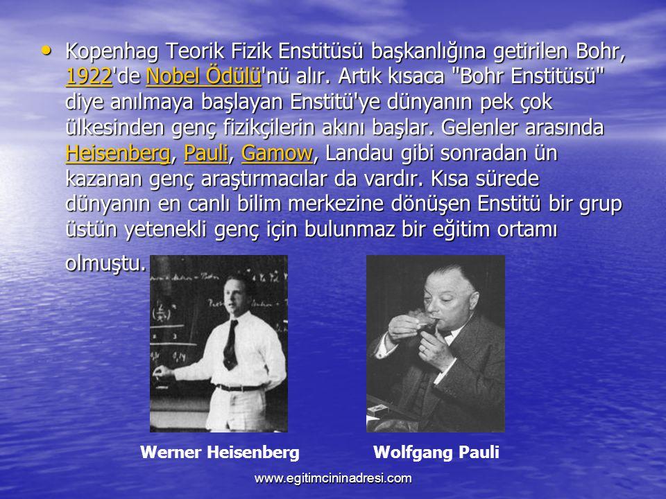 Kopenhag Teorik Fizik Enstitüsü başkanlığına getirilen Bohr, 1922 de Nobel Ödülü nü alır. Artık kısaca Bohr Enstitüsü diye anılmaya başlayan Enstitü ye dünyanın pek çok ülkesinden genç fizikçilerin akını başlar. Gelenler arasında Heisenberg, Pauli, Gamow, Landau gibi sonradan ün kazanan genç araştırmacılar da vardır. Kısa sürede dünyanın en canlı bilim merkezine dönüşen Enstitü bir grup üstün yetenekli genç için bulunmaz bir eğitim ortamı olmuştu.