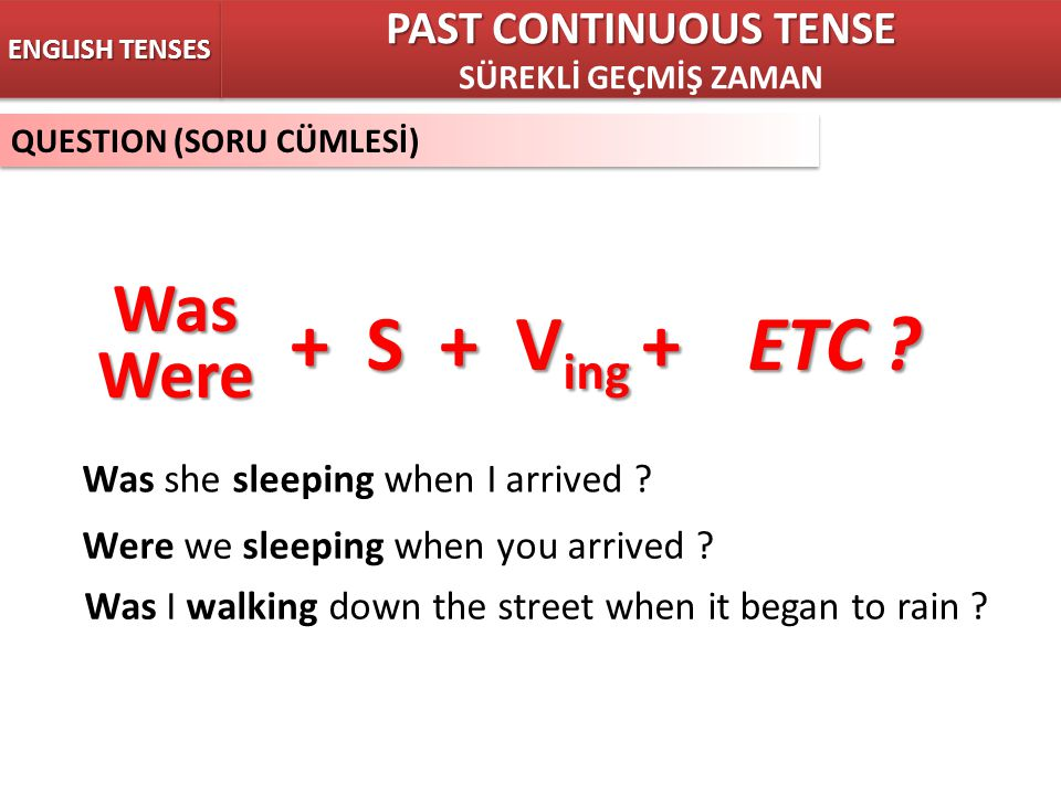 + S + Ving + ETC Was Were PAST CONTINUOUS TENSE
