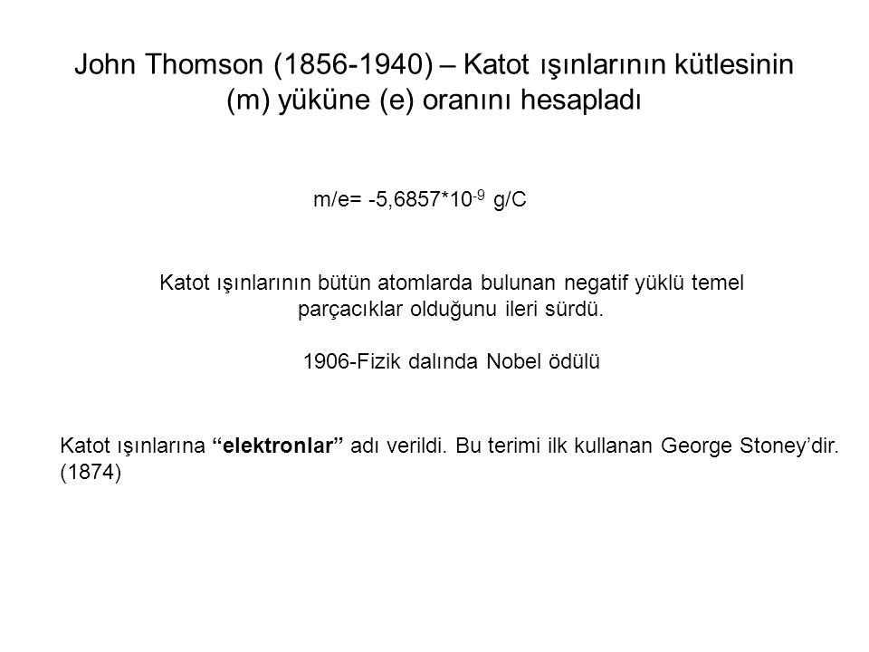 1906-Fizik dalında Nobel ödülü