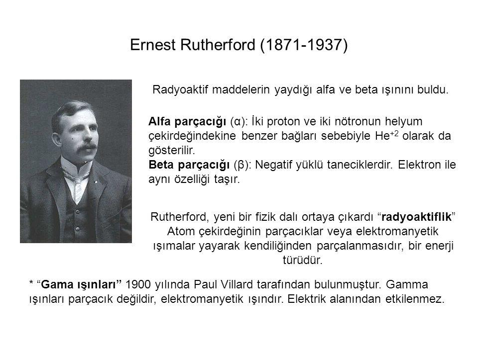 Ernest Rutherford (1871-1937) Radyoaktif maddelerin yaydığı alfa ve beta ışınını buldu.