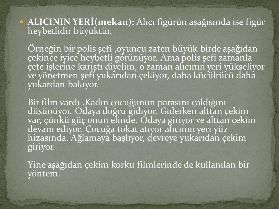 ALICININ YERİ(mekan): Alıcı figürün aşağısında ise figür heybetlidir büyüktür. Örneğin bir polis şefi ,oyuncu zaten büyük birde aşağıdan çekince iyice heybetli görünüyor.