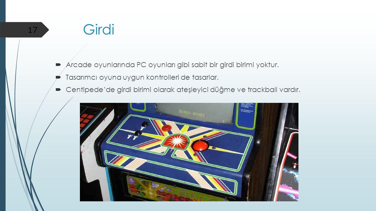 Girdi Arcade oyunlarında PC oyunları gibi sabit bir girdi birimi yoktur. Tasarımcı oyuna uygun kontrolleri de tasarlar.