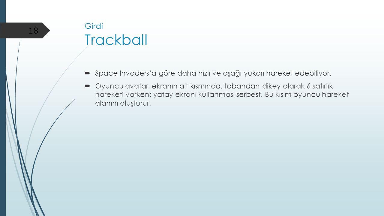 Girdi Trackball Space Invaders'a göre daha hızlı ve aşağı yukarı hareket edebiliyor.