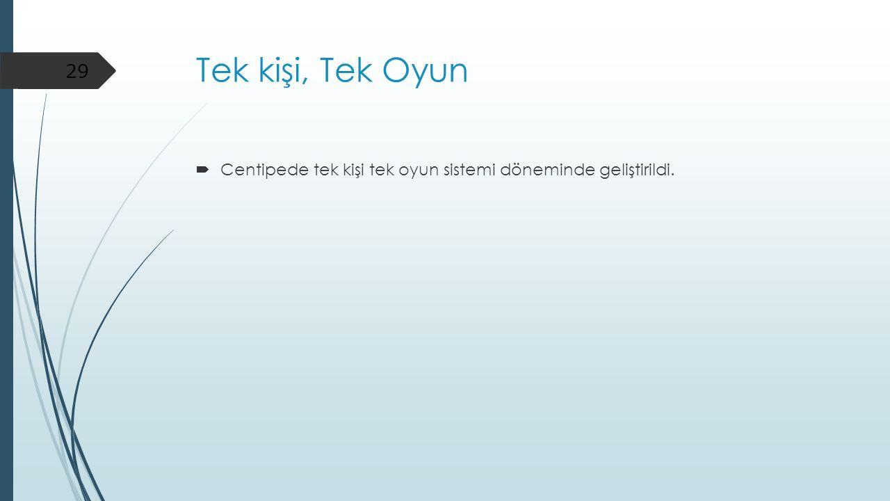Tek kişi, Tek Oyun Centipede tek kişi tek oyun sistemi döneminde geliştirildi.