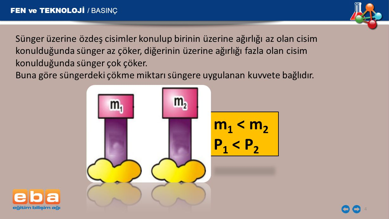 m1 < m2 P1 < P2 FEN ve TEKNOLOJİ / BASINÇ