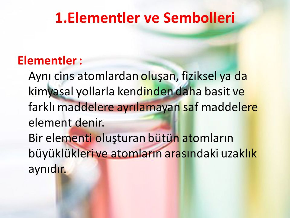 1.Elementler ve Sembolleri