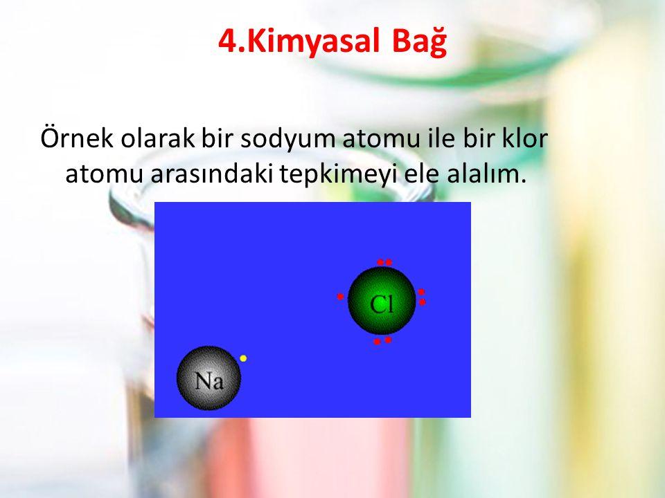 4.Kimyasal Bağ Örnek olarak bir sodyum atomu ile bir klor atomu arasındaki tepkimeyi ele alalım.