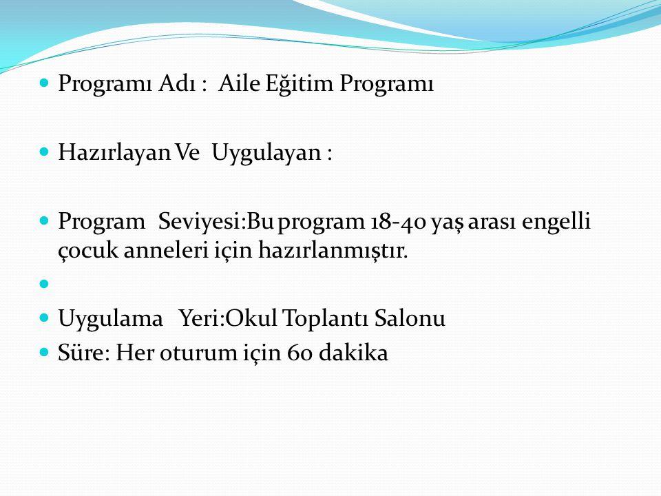 Programı Adı : Aile Eğitim Programı