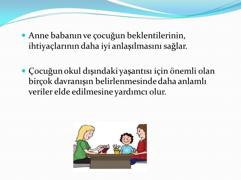 Anne babanın ve çocuğun beklentilerinin, ihtiyaçlarının daha iyi anlaşılmasını sağlar.